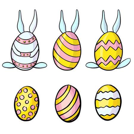 easter eggs cartoon set. Rabbit ears set isolated on a white 版權商用圖片 - 163405337