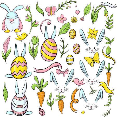 easter eggs cartoon set. Rabbit ears set. Rabbit avatar set isolated on a white 版權商用圖片 - 163405340