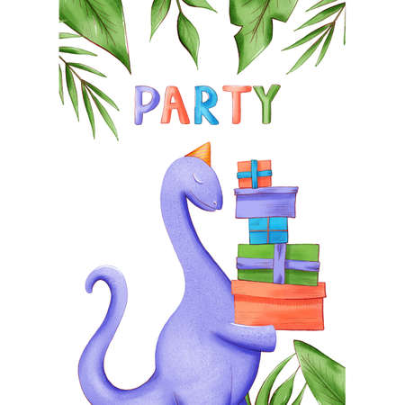 Invitation card or poster on the Dino party. illustration with colorful dinosaurs. Template with a place for your text. 版權商用圖片