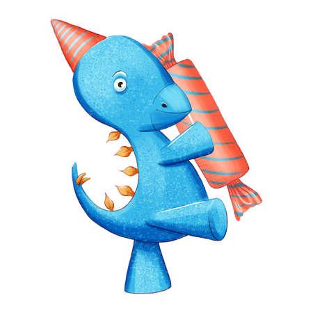 Dinosaur baby boy cute print. Sweet dino. Dino illustration for nursery t-shirt, kids apparel, invitation, simple scandinavian child design.