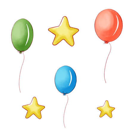 Bunch of balloons in cartoon style isolated on white background.