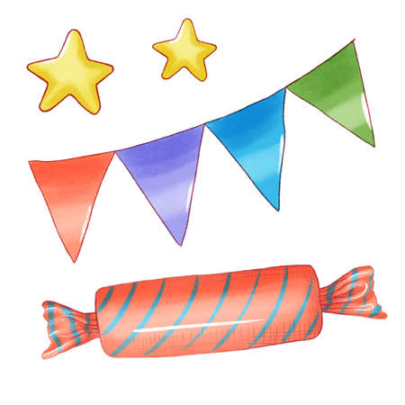 Set single cartoon candies lollipop, candy cane, bonbon, marmalade teddy bear, licorice, candied fruit. collection of icon illustration 版權商用圖片