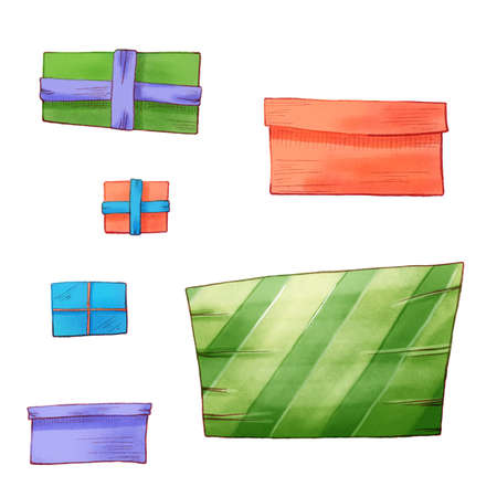Gift boxes. Set of different present boxes. Surprise in the box. birthday gift
