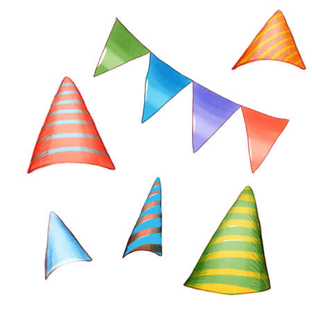 Party Hat Set Isolated with Decorations on White Background. Accessory Holiday.