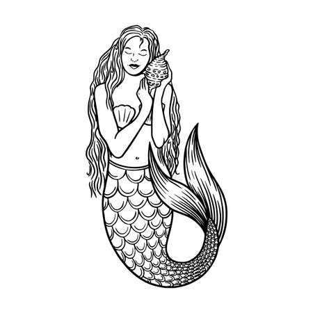 Beautiful young mermaid with the sea shell and pearl. Sea underwater fantasy creature with tail and decorative long hair. Hand drawn vector illustration, design for coloring book, tattoo and poster. 向量圖像
