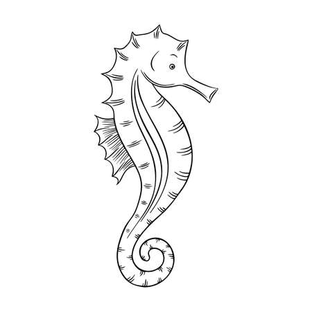 Vector illustration of a seahorse isolated on a white background. Coloring Pages. Coloring Book for adults and children.