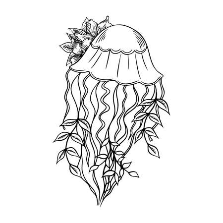 Jellyfish with lilies outline hand-drawn doodle marine sketch, underwater jelly fish illustration, medusa line art drawing animal , tattoo sketch .