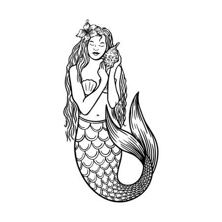 Beautiful young mermaid with lilies with the sea shell and pearl. Sea underwater fantasy creature with tail and decorative long hair. 向量圖像