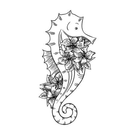 Vector illustration of a seahorse with lilies isolated on a white background. Coloring Pages. Coloring Book for adults and children.