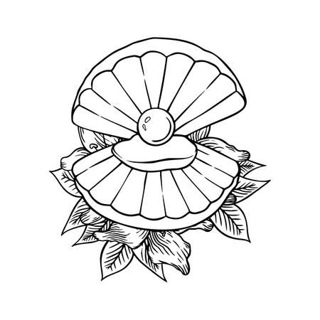 Seashell with lilies thin line icon, animal and underwater, shell sign vector graphics, a linear pattern on a white background, eps 10. 向量圖像