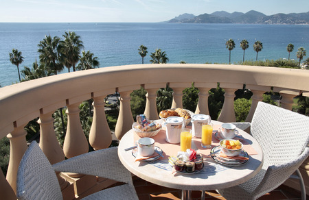 breakfast in French Riviera Cannes and view on the sea Stock Photo