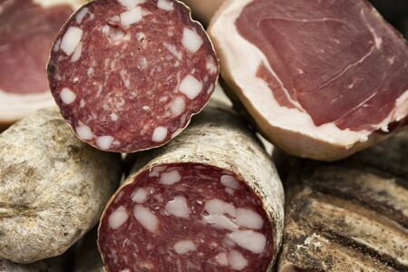 various types of italian handmade cold cuts Stock Photo
