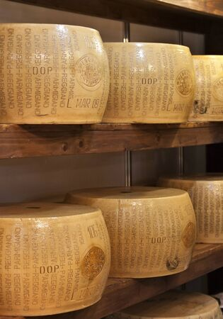 typical: typical italian seasoned cheese called parmigiano