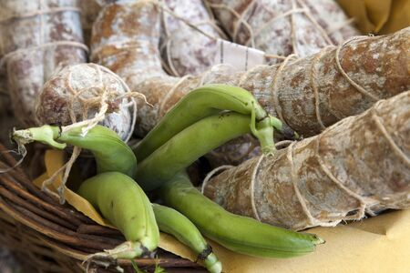 salame: italian food, fave e salame, broad beans with salami Stock Photo