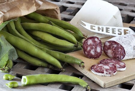italian food, fave e salame, broad beans with salami and sheep cheese