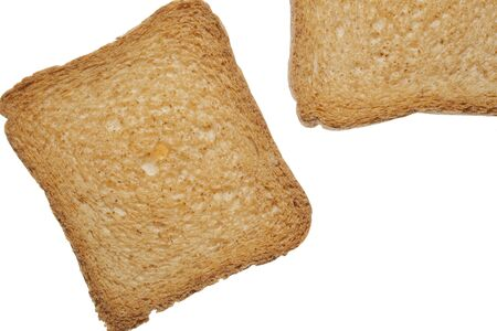 greediness: cereals crisp toasts on white background