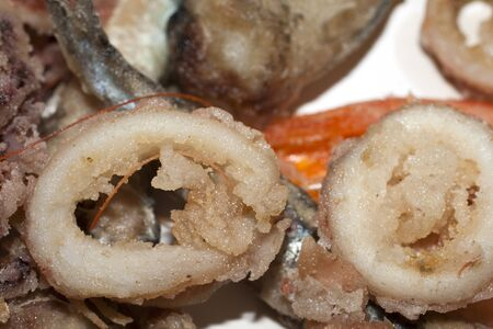 fish fry: fish fry, frittura di pesce with shrimps, squid and anchovies Stock Photo