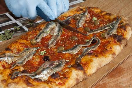 sardines: sardenaira pizza with sardines typical western ligurian riviera salty cake Stock Photo