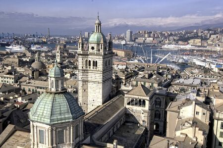 St Lorentz cathedral in Genoa, italy and view of the city