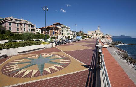 view of Genoa, Italy, corso italiaand the village of  Boccadasse, in the background Portofino photo