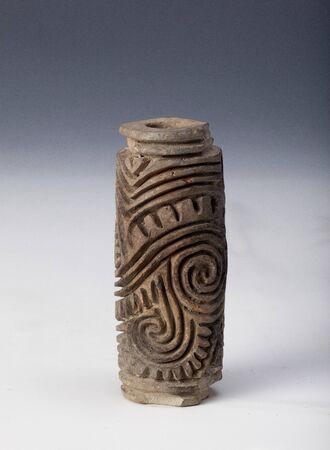 anthropomorphous: seal, signet with decorum in argil or clay, ancient art of ecuador
