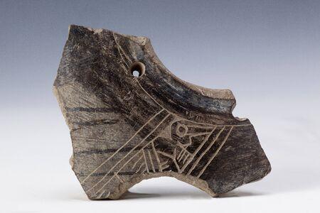 anthropomorphous: anthropomorphic representation on fragment of vessel, ancient art of ecuador