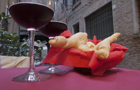 lambrusco: bread and red wine in Ferrara city, Italy