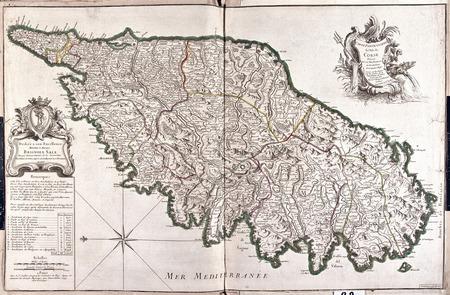 코르시카, 프랑스의 옛지도 스톡 콘텐츠