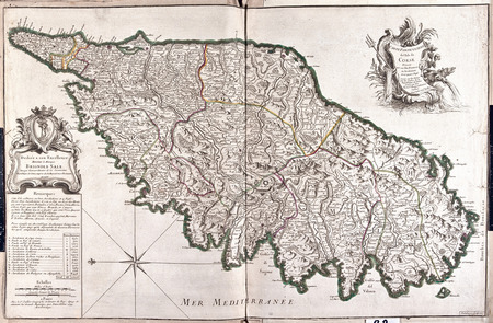 italia: old map of Corsica, France