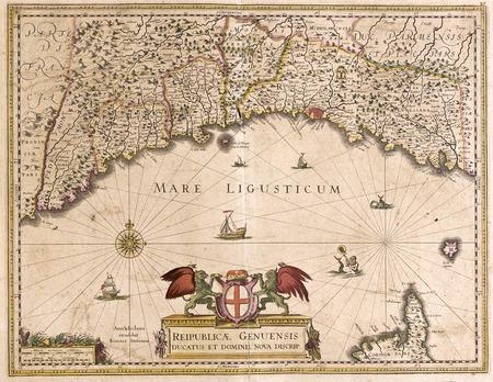 oude kaart van Ligurië, Italië en Republica genuensis