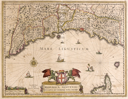 Vieille carte de la Ligurie, en Italie et republica genuensis Banque d'images - 42101419