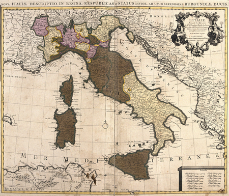 corsica: old map of Italy, with Corsica and Sardinia