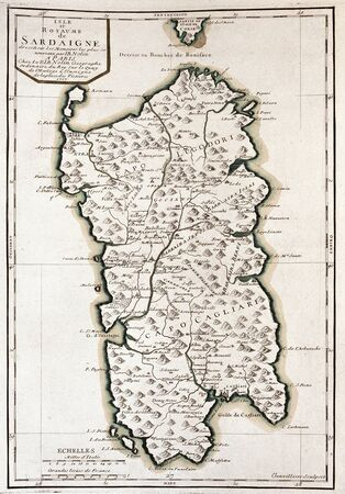 corsica: old map of Sardinia, Italy