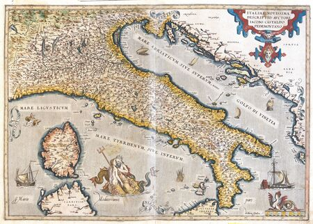 sardinia: old map of Italy, with Corsica and Sardinia