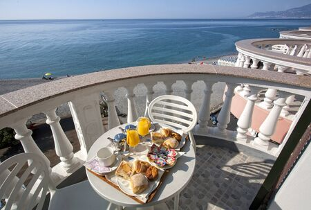 breakfast in ligurian riviera, and view on the sea