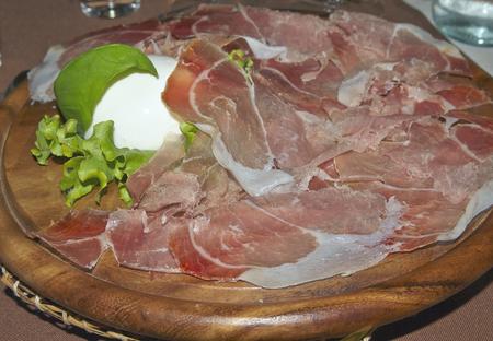 hoax: italian food: ham and mozzarella Stock Photo