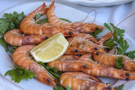 italian seafood: fresh shrimps  and lemon Stock Photo
