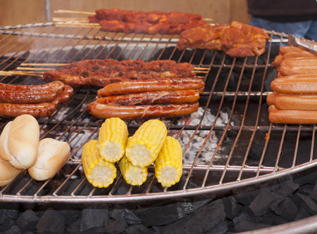 ready for a big barbeque on plain air Stock Photo