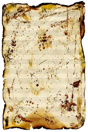 white sheet: Vintage music sheet isolated on white background