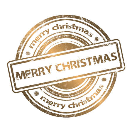 certificate seal: Merry Christmas Grunge Rubber Stamp Gold Style  Stock Photo