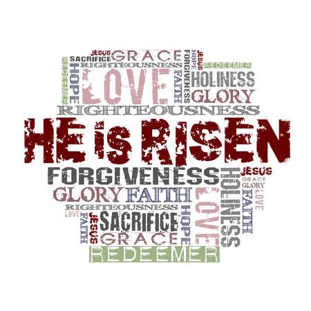 resurrección: Ha resucitado palabras religiosas aisladas en blanco Foto de archivo