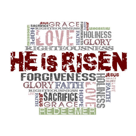 easter decorations: He Is Risen Religious Words isolated on white
