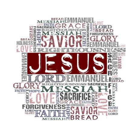Religious Words isolated on white  photo