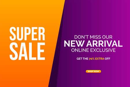 Modern super big sale banner background vector illustration, web banner design, discount card, promotion, flyer layout, ad, advertisement, printing media. Foto de archivo - 138043840
