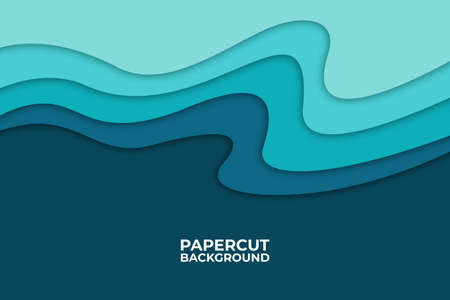 Abstract wave background with paper cut shapes, web banner design, discount card, promotion, flyer layout, ad, advertisement, printing media. Foto de archivo - 138043856