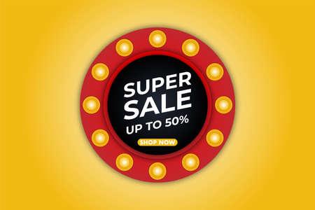 Modern super sale banner background vector illustration, web banner design, discount card, promotion, flyer layout, ad, advertisement, printing media. Foto de archivo - 138044261