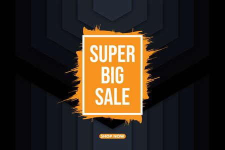 Modern super big sale banner background vector illustration, web banner design, discount card, promotion, flyer layout, ad, advertisement, printing media. Foto de archivo - 138044092