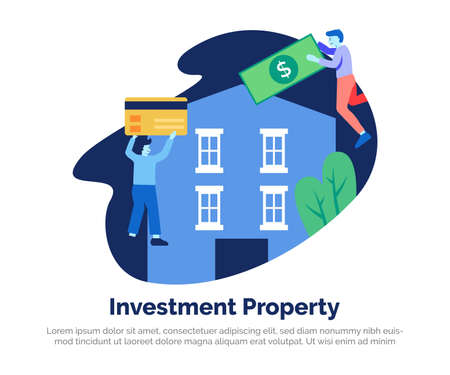 Investment property buyer and seller banner background vector illustration, web banner design, discount card, promotion, flyer layout, ad, advertisement, printing media.