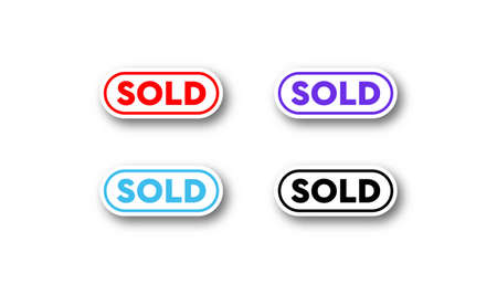 Sold out sign vector template.