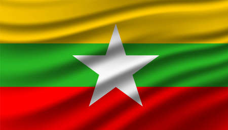 Flag of Myanmar background template.